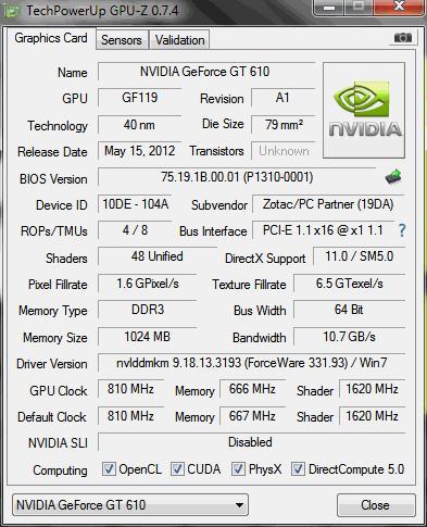 Zotac GT 610 1GB videokártya tesztelés