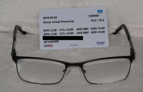 A lencse Essilor Prevencia. A teljes készítési költség 60000 Ft. A  garanciakártyán a készítő nevét satíroztam ki ea6cc2c5d0