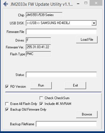 Jmicron Firmware Update Tool